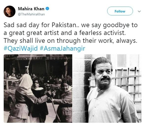 Mahira-Khan-Tweeted-About-Qazi-Wajid-Death